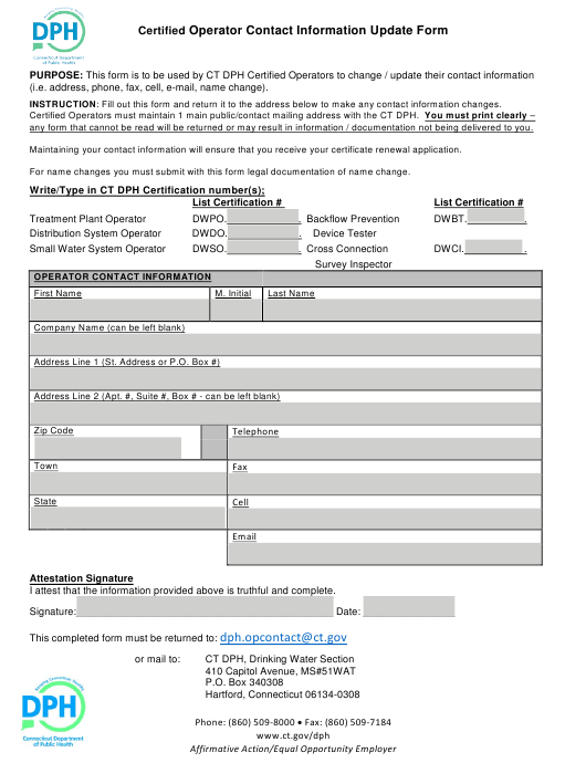 """""""Certified Operator Contact Information Update Form"""" - Connecticut Download Pdf"""