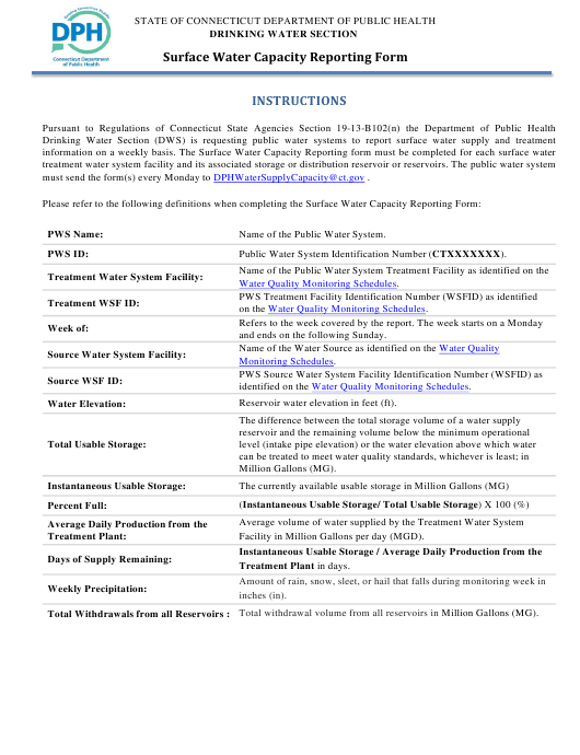 "Instructions for ""Surface Water Capacity Reporting Form"" - Connecticut Download Pdf"