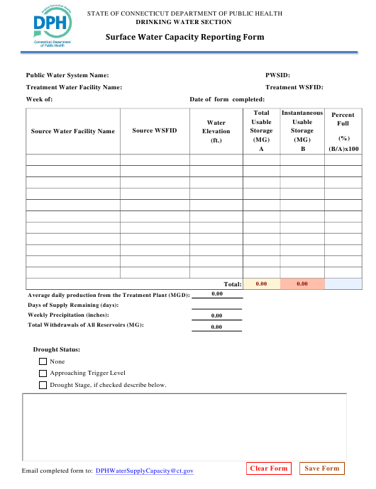 """""""Surface Water Capacity Reporting Form"""" - Connecticut Download Pdf"""