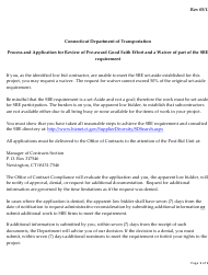 """""""Application for Review of Pre-award Good Faith Efforts Waiver of Part of the Sbe Requirement"""" - Connecticut"""