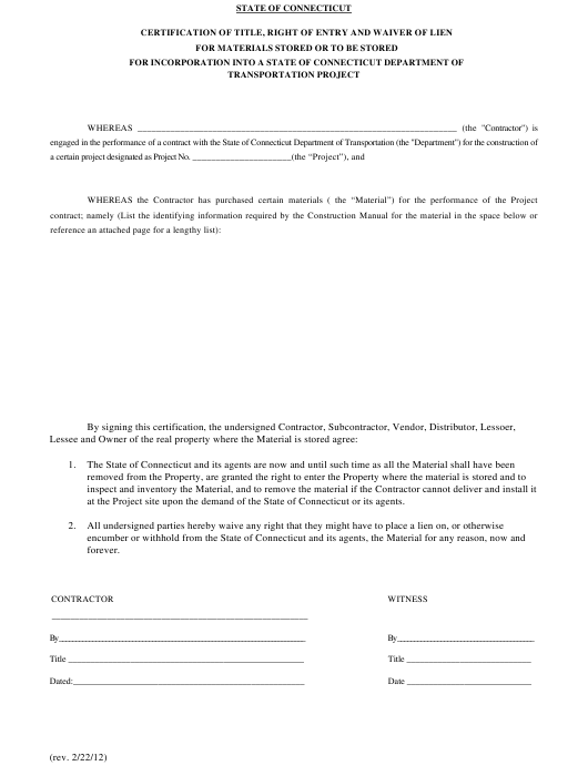 """Certification of Title, Right of Entry and Waiver of Lien for Materials Stored or to Be Stored for Incorporation Into a State of Connecticut Department of Transportation Project"" - Connecticut Download Pdf"