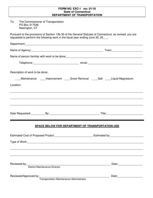 Form EXC-1  Printable Pdf