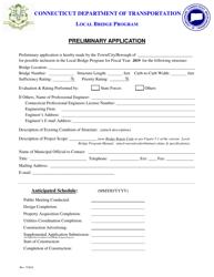 """Preliminary Application Form - Local Bridge Program"" - Connecticut, 2019"