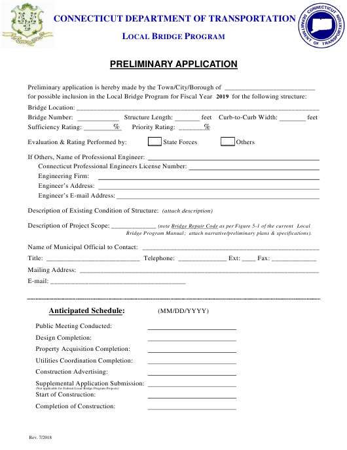 """Preliminary Application Form - Local Bridge Program"" - Connecticut Download Pdf"