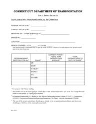 """Supplementary Program Financial Information Form - Local Bridge Program"" - Connecticut"