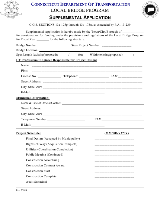 """Supplemental Application Form - Local Bridge Program"" - Connecticut Download Pdf"