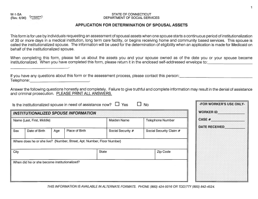 Form W-1-SA Printable Pdf