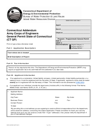 """Form DEP-ACGP-APP-001 """"Connecticut Addendum Army Corps of Engineers General Permit (Ct Gp)"""" - Connecticut"""