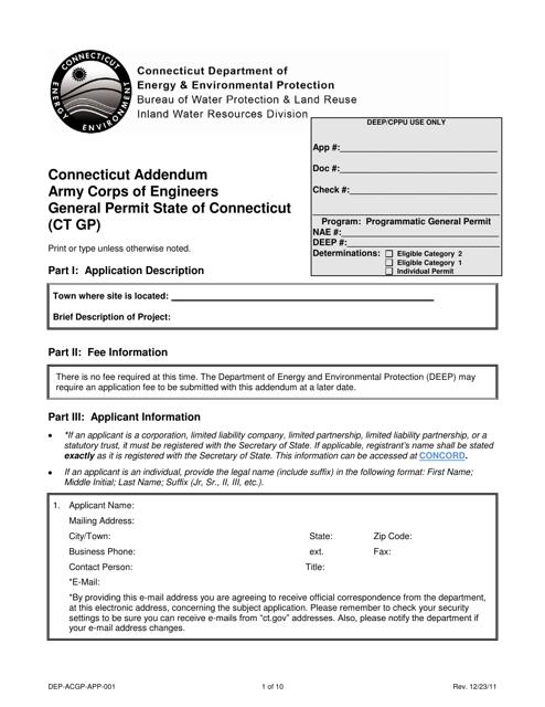 Form DEP-ACGP-APP-001  Printable Pdf
