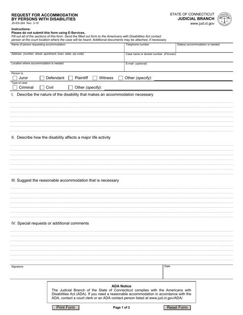 Form JD-ES-264 Fillable Pdf