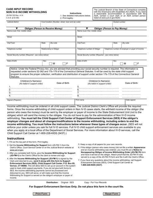 Form JD-FM-150  Printable Pdf