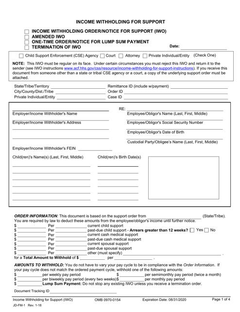 Form JD-FM-1  Printable Pdf