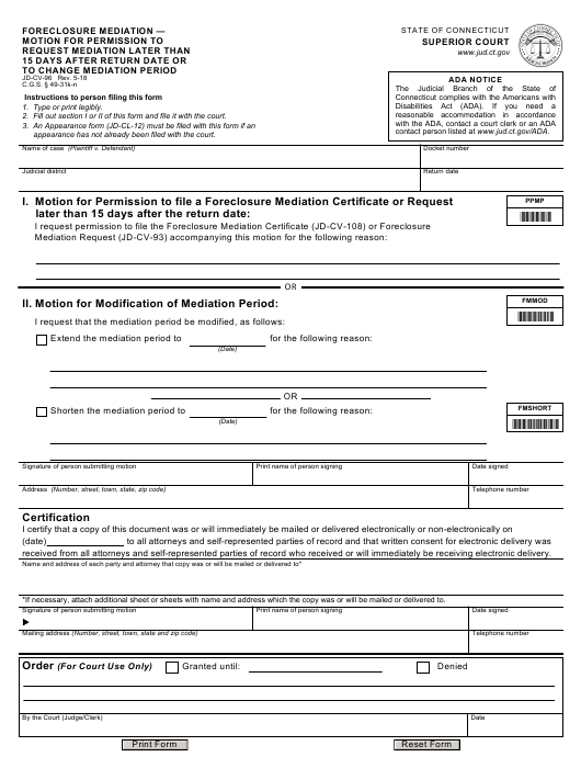 Form JD-CV-96  Printable Pdf