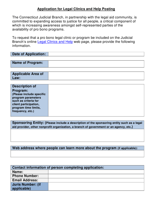 """Application for Legal Clinics and Help Posting"" - Connecticut Download Pdf"
