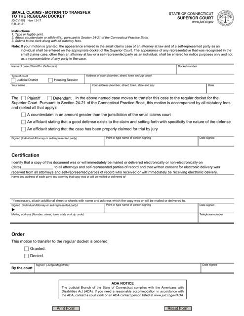 Form JD-CV-158  Printable Pdf