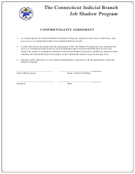 Confidentiality Agreement Form - the Connecticut Judicial Branch Job Shadow Program - Connecticut