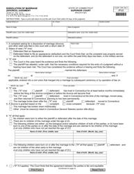 "Form JD-FM-177 ""Dissolution of Marriage (Divorce) Judgment"" - Connecticut"