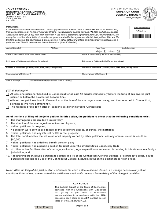Form JD-FM-242  Printable Pdf