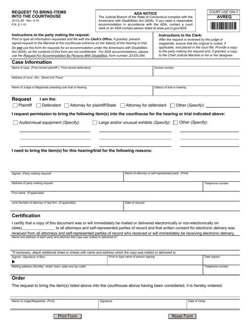 Form JD-CL-90  Printable Pdf