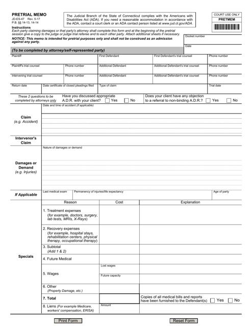 Form JD-ES-47  Printable Pdf