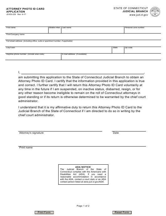 Form JD-ES-229  Printable Pdf