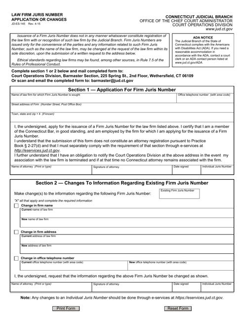 Form JD-ES-145  Printable Pdf