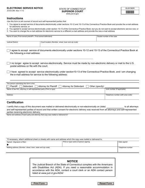 Form JD-ES-286  Printable Pdf