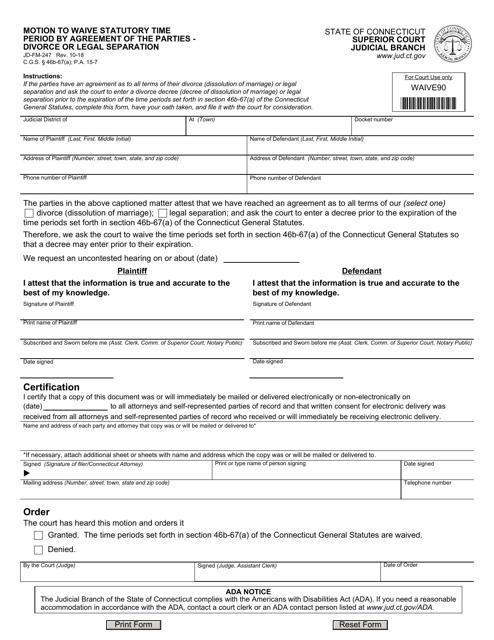 Form JD-FM-247  Printable Pdf