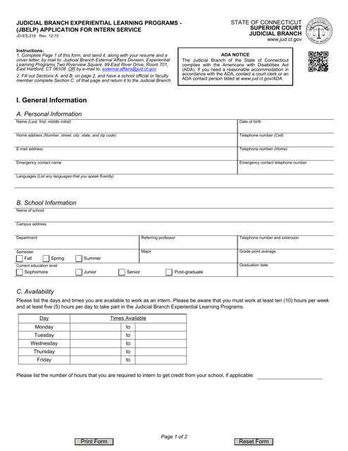 Form JD-ES-318  Printable Pdf