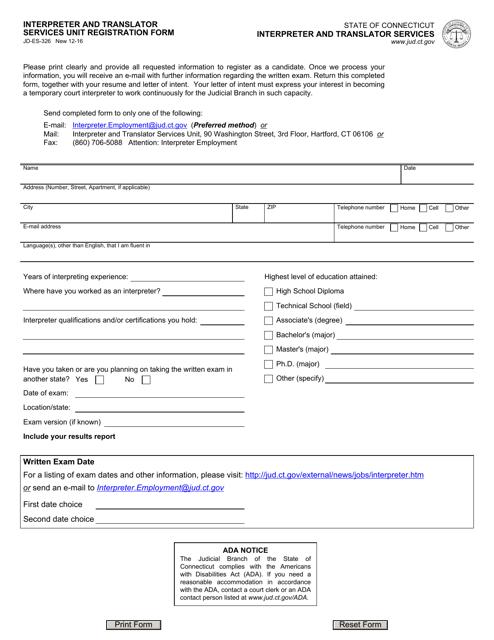 Form JD-ES-326  Printable Pdf