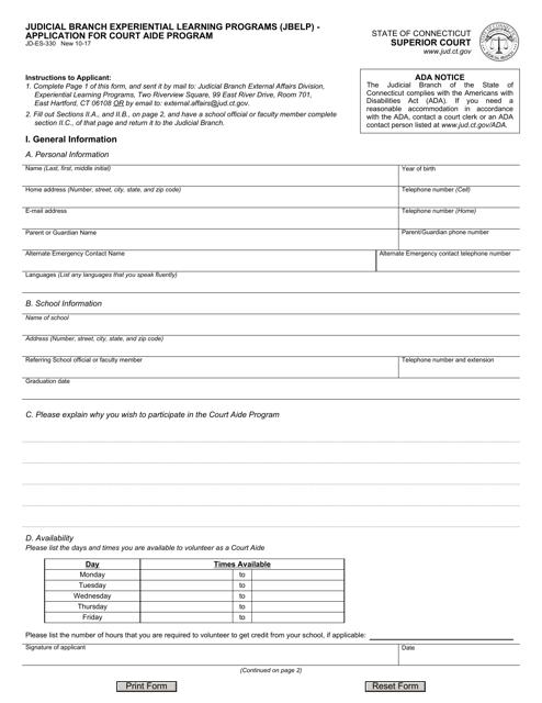 Form JD-ES-330  Printable Pdf