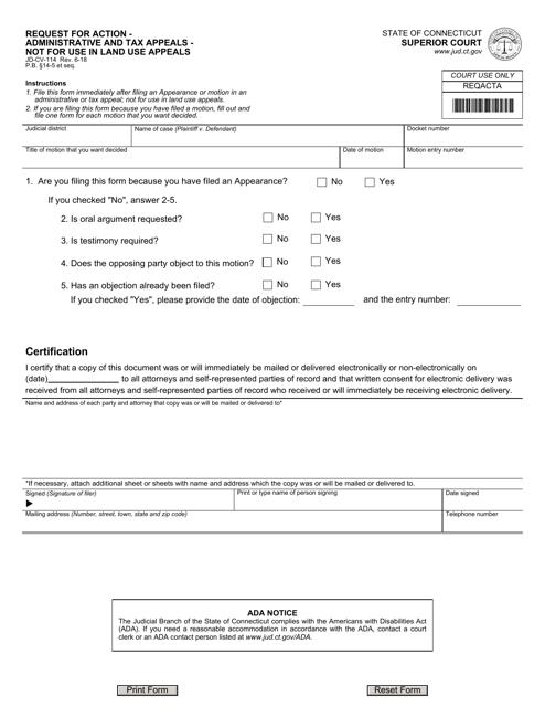 Form JD-CV-114 Fillable Pdf