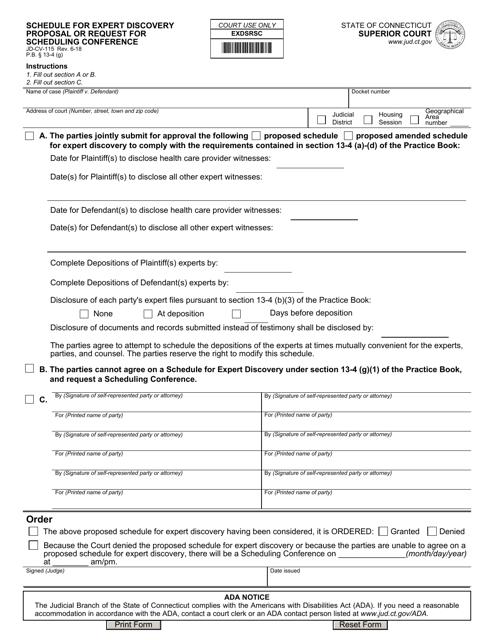 Form JD-CV-115  Printable Pdf
