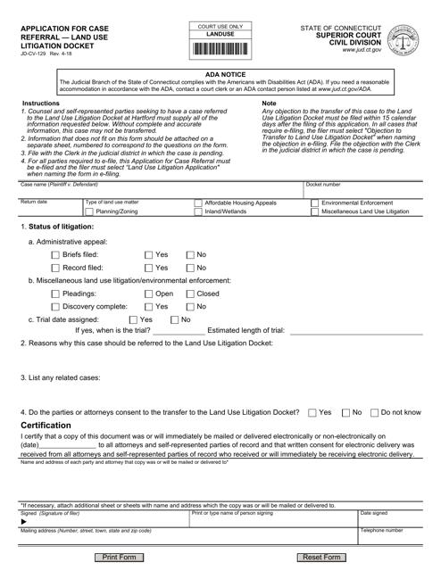 Form JD-CV-129  Printable Pdf