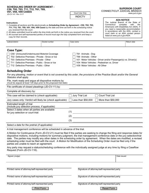 Form JD-CV-141  Printable Pdf