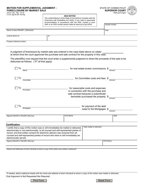 Form JD-CV-152  Printable Pdf