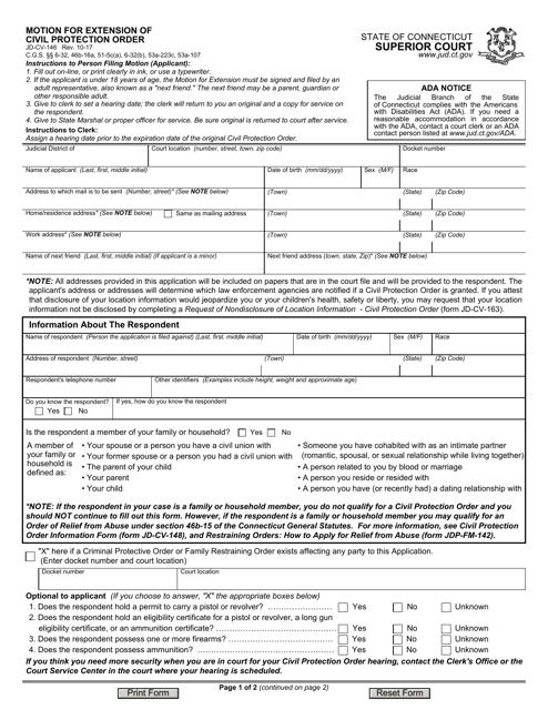 Form JD-CV-146  Printable Pdf