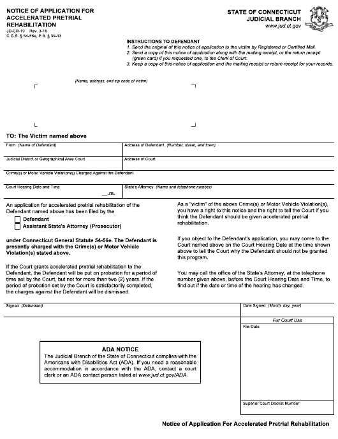 Form JD-CR-10  Printable Pdf