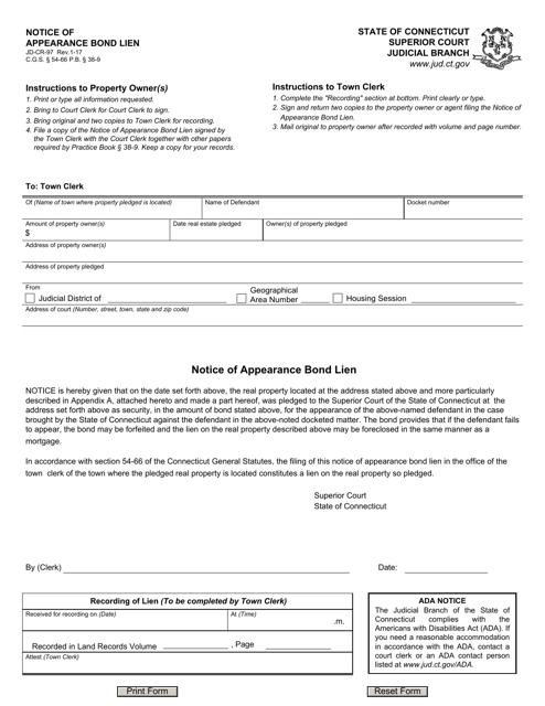Form JD-CR-97  Printable Pdf