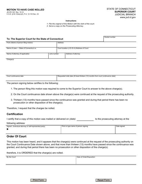 Form JD-CR-145  Printable Pdf