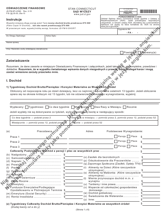 Form JD-FM-6P-LONG Printable Pdf