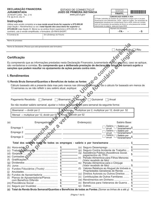 Form JD-FM-6PT-LONG  Printable Pdf