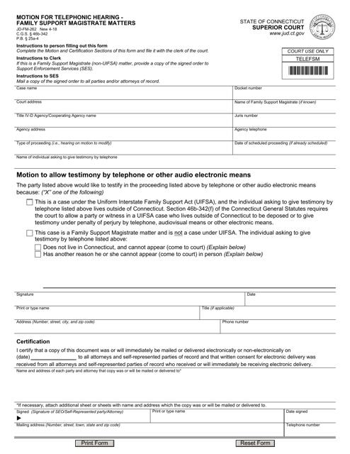 Form JD-FM-262  Printable Pdf