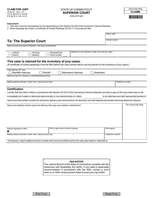 Form JD-CL-53  Printable Pdf