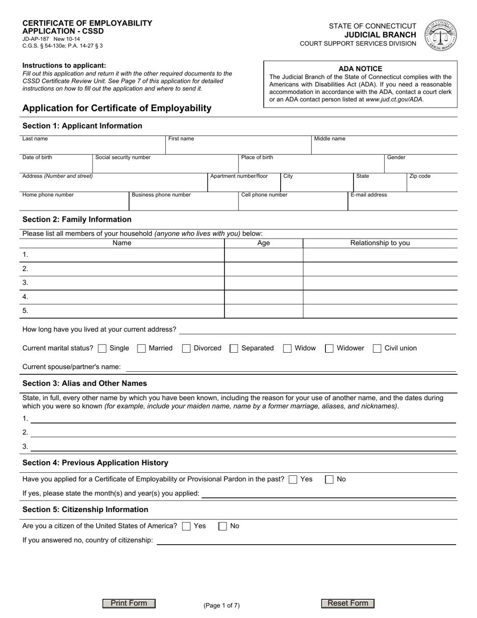 jd form application employability cssd templateroller connecticut certificate ap