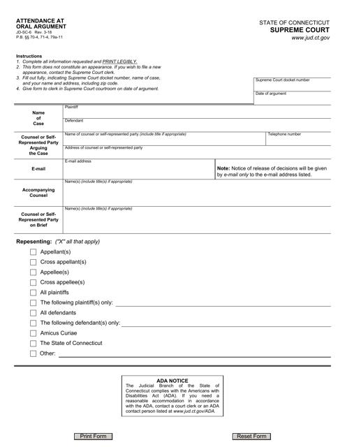 Form JD-SC-6  Printable Pdf