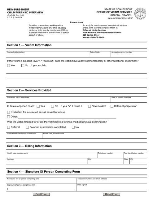 Form JD-VS-34  Printable Pdf