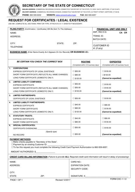 Form CXC-1-1.0 Printable Pdf