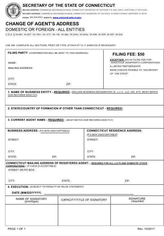 """Change of Agent's Address - Domestic or Foreign - All Entities"" - Connecticut Download Pdf"