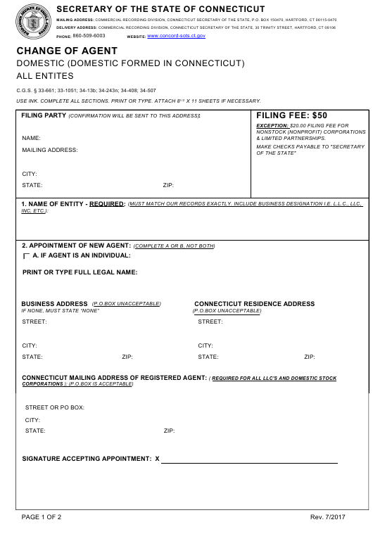 """""""Change of Agent - Domestic (Domestic Formed in Connecticut) - All Entites"""" - Connecticut Download Pdf"""